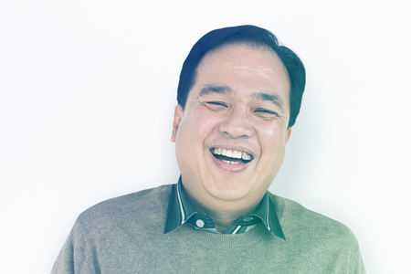 Asian Man Smile Happiness Face Expression Studio Portriat Stock Photo