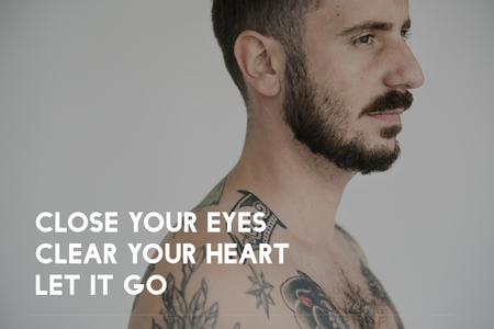 Life Motivation Word on Adult Tattoo Shirtless Man Background