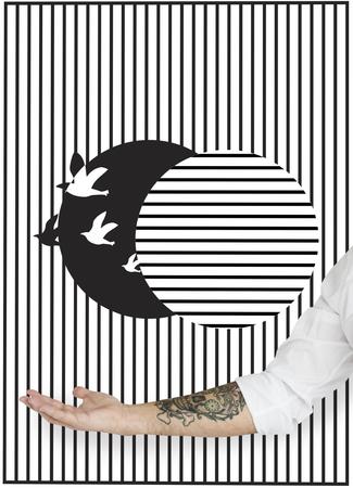 환상 새장에서 새의 그림이 풀립니다.