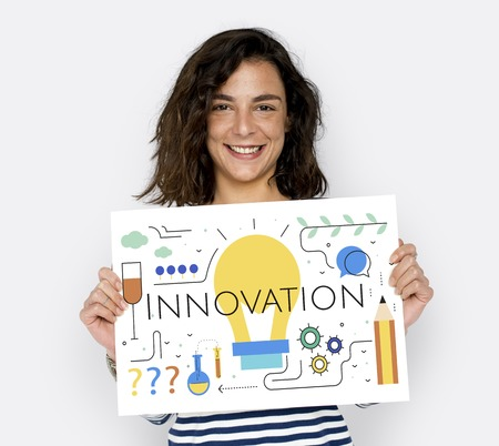 innovate: Girl with Illustration of creativity ideas light bulb
