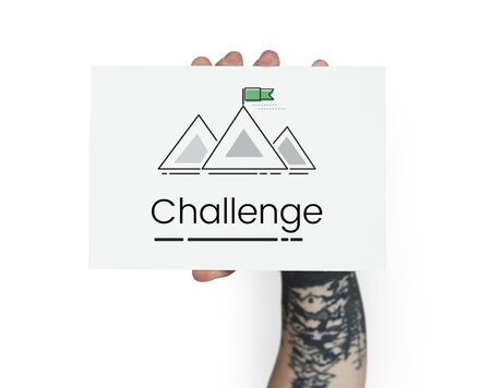 Illustration of goals target with mountain on banner Stock Photo