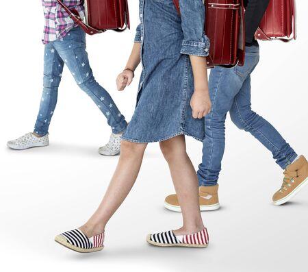 Group of Children Walking Concept