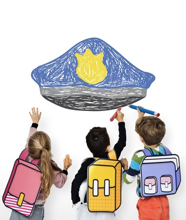 Children with a drawing of police hat