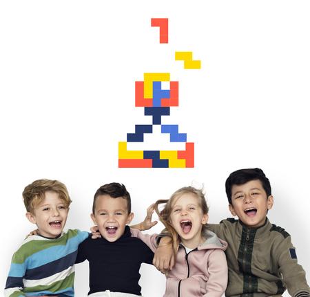 Cheerful kids with 8 bit joystick