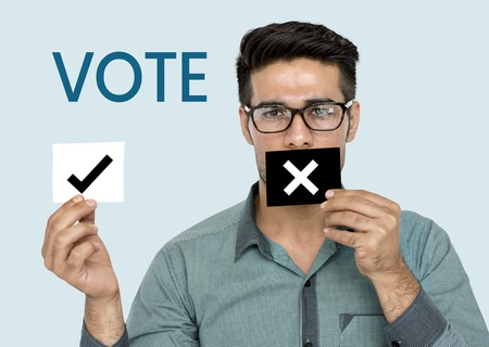Man with a vote concept Stock Photo