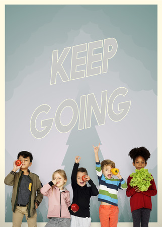 Group of school kids with aspiration word graphic Stock Photo
