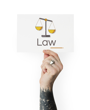 Hand holding banner of justice scale rights and law illustration Stock Illustration - 81921906