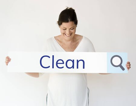 Woman serarhing for cleaning service