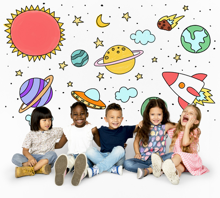 Group of students studying astronomy outerspace Stok Fotoğraf