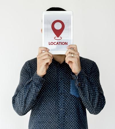 Man holding network graphic overlay digital device covering face Reklamní fotografie