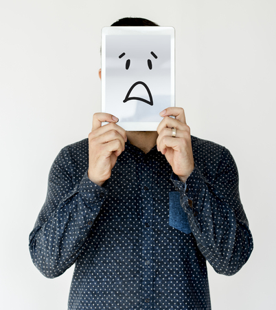 Illustration of awful sadness face on banner Stock fotó