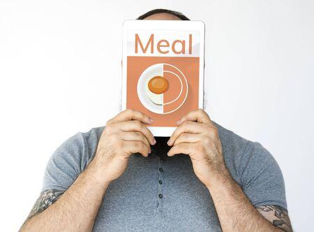 デジタル タブレット健康食品料理メニュー レシピのイラスト