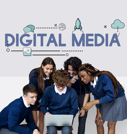 Group of students and digital device social connection Banco de Imagens - 81943810