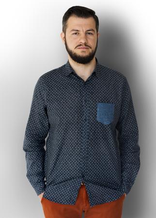 Man Portrait Face Serious Expression Stock Photo