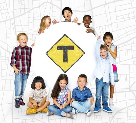 Enfants, tenue, réseau, graphique, overlay, bannière Banque d'images - 81944334