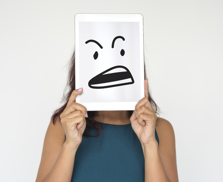 Illustration of aggressive madness face on banner Reklamní fotografie - 81944583