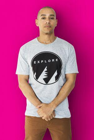 A Man with an Explore T-shirt Stock fotó
