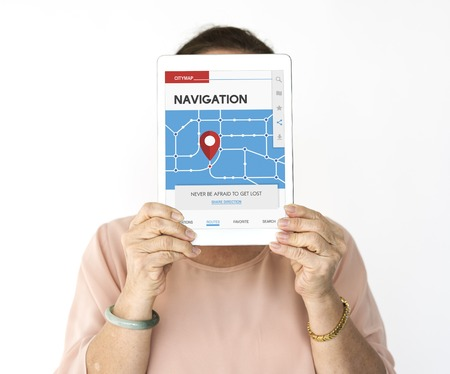 gps device: Woman holding network graphic overlay digital device covering face