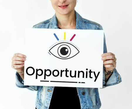 opportunity sign: Woman holding billboard network graphic overlay
