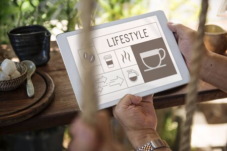 Coffee shop illustration advertisement on digital tablet Reklamní fotografie