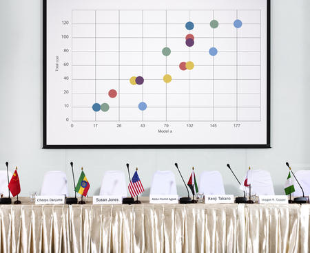 Graphic of business financial data analysis chart Stock Photo