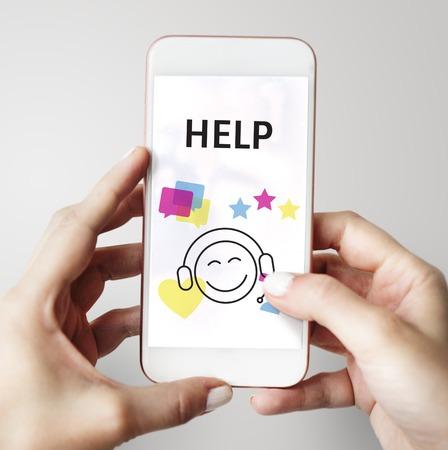 イラストのお問い合わせ携帯電話のオンライン顧客サービス