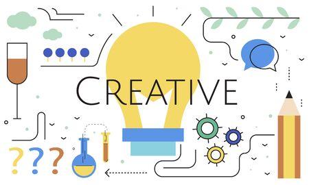 Illustratie van creativiteit ideeën gloeilamp Stockfoto