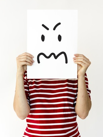 Illustration of agressive madness face on banner Stock Illustration - 82043008