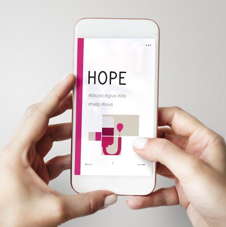 Illustration de la campagne de don de sang sur le téléphone portable Banque d'images - 81998571