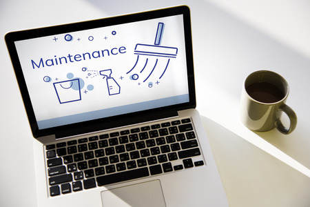 Illustration of home cleaning service on laptop