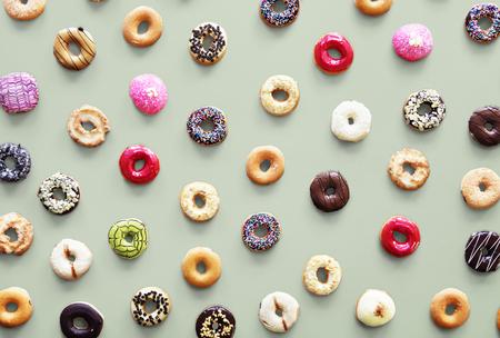 Varities of donut flavor shot in aerial view Stock fotó