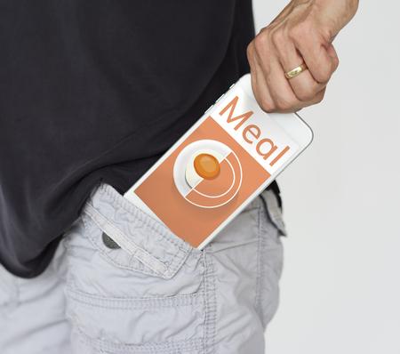 휴대 전화 건강 식품 요리 메뉴 제조법의 일러스트 레이션