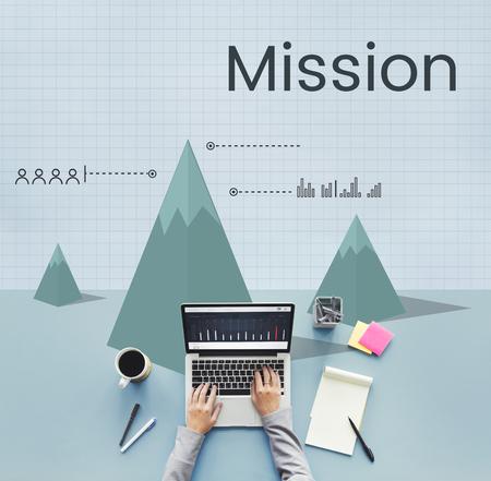 core strategy: Mission aim aspiration goals ideas Stock Photo