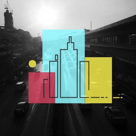 Building downtown skyscraper metropolis illustration