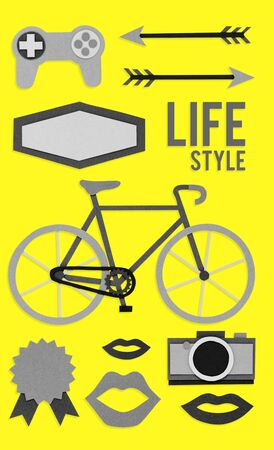 Collection of hipster lifestyle culture icon illustration