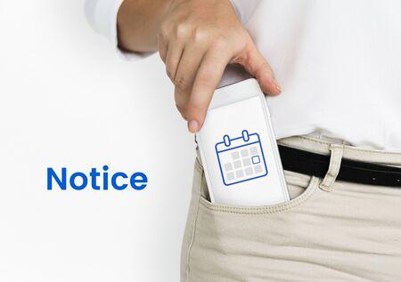 Illustratie van de persoonlijke agenda van de organisator op de mobiele telefoon Stockfoto