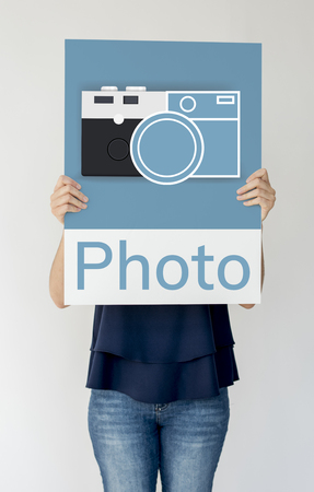 Woman holding banner of camera collect the memories illustration