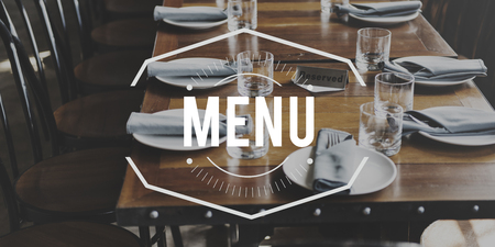 metalic: Restaurant Gala Dinner Menu Cuisine Stock Photo
