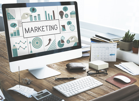 Illustration of financial marketing business plan on computer Stock Photo