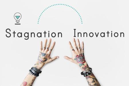 Antonym Opposite Future Past Stagnation Innovation Stock fotó