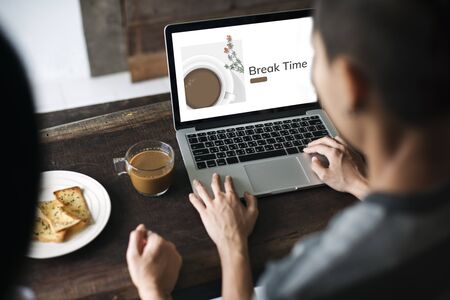 Illustration of coffee cup decoration cafe commercial on laptop Stock Photo