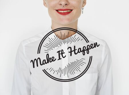 Make It Happen Life Attitude Positivity Word Graphic Stamp Banco de Imagens