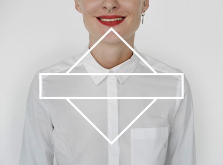 ブランクのバッジ正方形グラフィック 写真素材