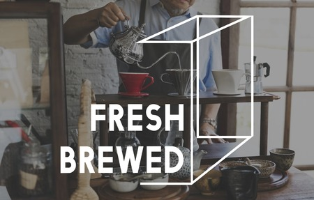Coffee Fresh Brewed Word Graphic