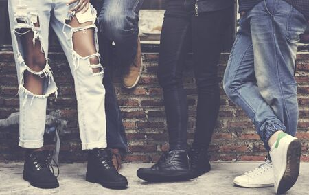 Women Legs Stand Against Wall Reklamní fotografie