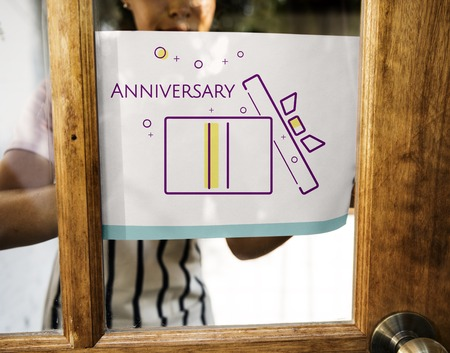 Illustration of happy anniversary gift box present on banner Stock fotó