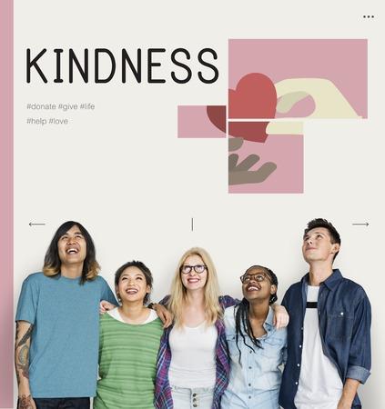 Groupe d'étudiants avec illustration de campagne de dons de charité Banque d'images - 81969189