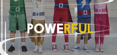 Superhero Kids Powerful Strenght Word Graphic