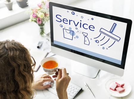 chic woman: Illustration of home cleaning service on computer Stock Photo