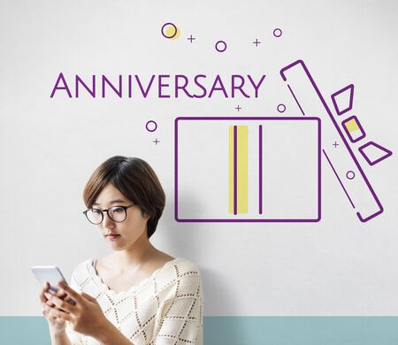 Young woman with illustration of happy anniversary gift box present